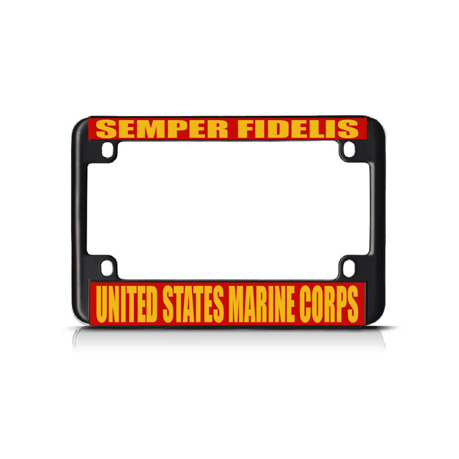 Semper Fidelis Us Marine Corps Black Metal Bike Motorcycle