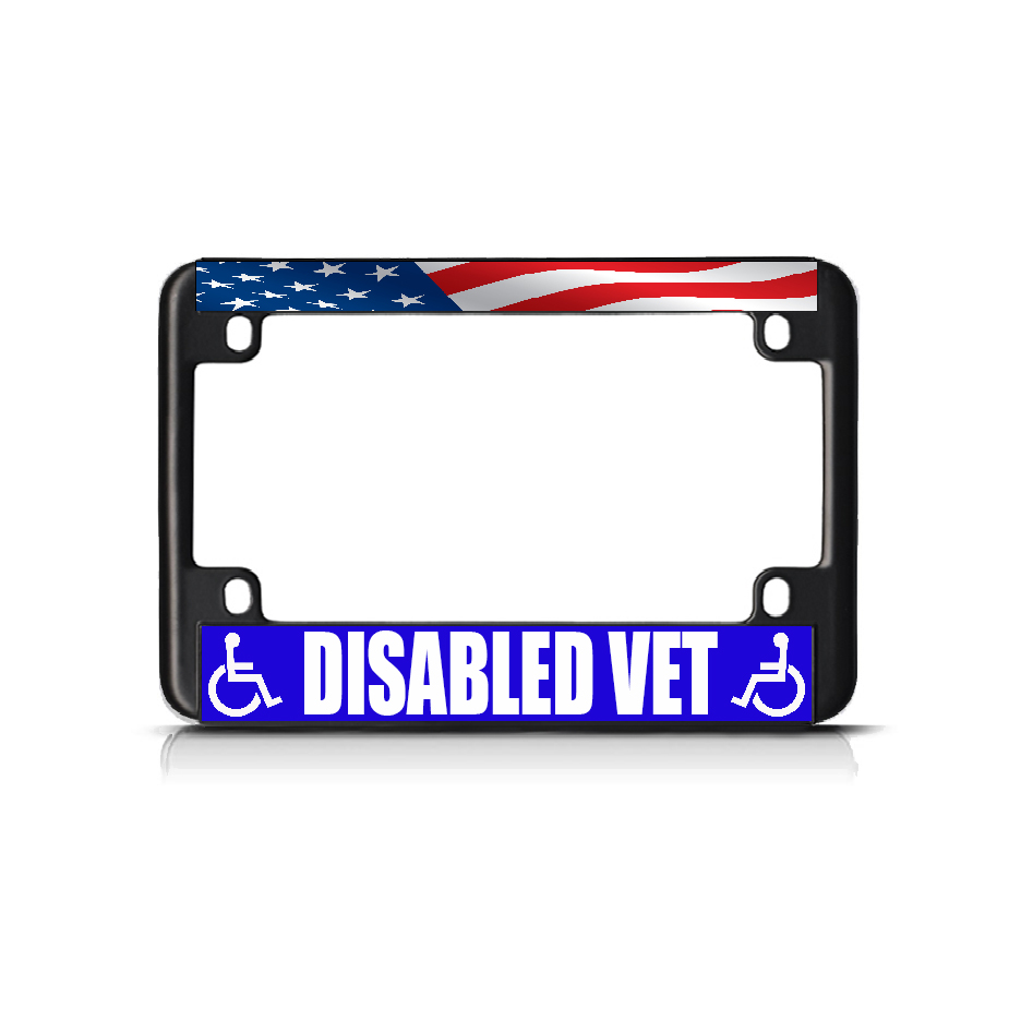 Disabled Vet White Blue Black Metal Bike Motorcycle
