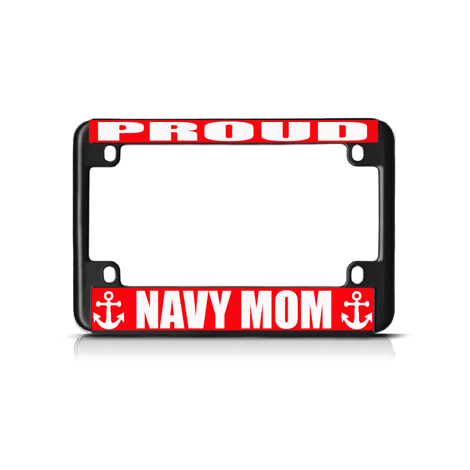 Proud Navy Mom Blue White Black Metal Bike Motorcycle